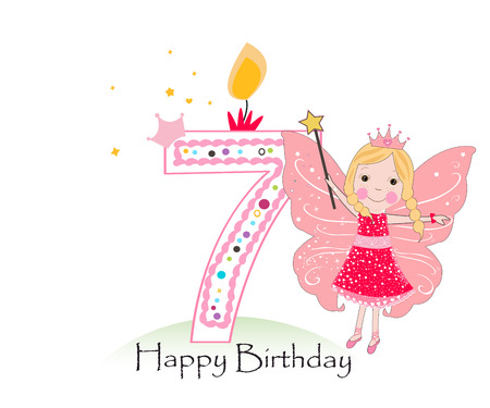 Happy seventh birthday candle. Baby girl greeting card with fairy tale vector background