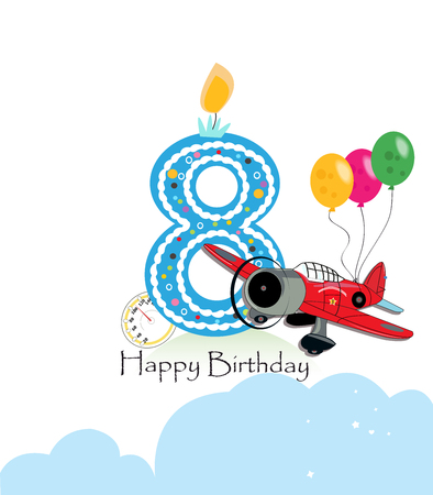 Eighth birthday greeting card. The plane and balloon happy birthday greeting card size Stock Vector - 73929776