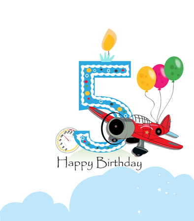fifth: Fifth birthday greeting card. The plane and balloon happy birthday greeting card size