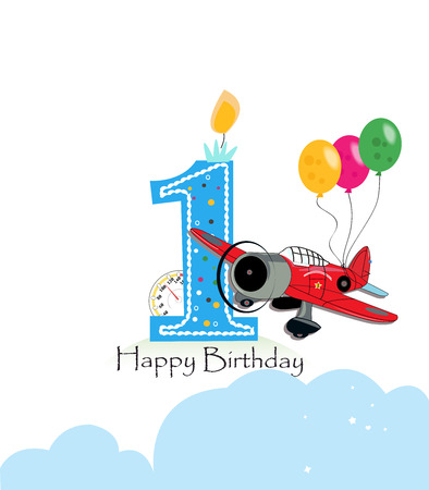 First birthday greeting card. The plane and balloon happy birthday greeting card size Stock Vector - 72360152