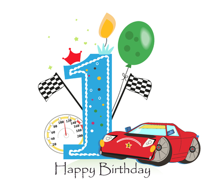 First birthday greeting card. Car vector illustration background