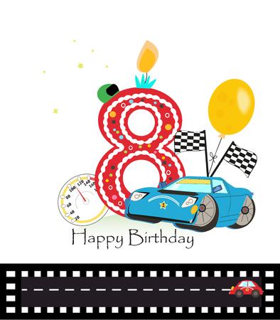 eighth: Eighth birthday greeting card. Car vector illustration background