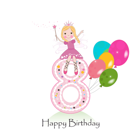 Happy eighth birthday greeting card with fairy tale Illustration