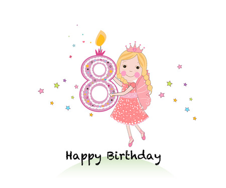eighth: Happy eighth birthday candle. Girl greeting card with cute fairy tale vector background Illustration