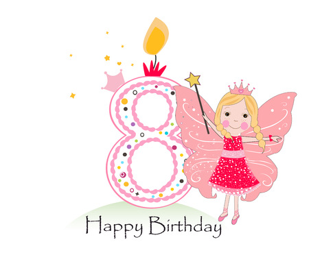 Eigther Happy birthday candle. Baby girl greeting card with fairy tale vector background Illustration