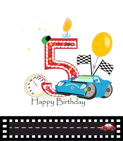 Fifth birthday greeting card. Car vector illustration background