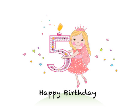 fifth: Happy fifth birthday candle. Girl greeting card with cute fairy tale vector background