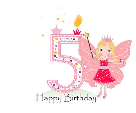 Feliz cinco velas de cumpleaños. Tarjeta de felicitación de bebé niña con fondo de vector de cuento de hadas