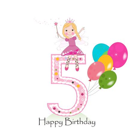 quinta tarjeta de felicitación del feliz cumpleaños con el cuento de hadas Ilustración de vector