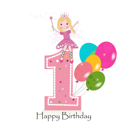 Happy first birthday greeting card with cute fairy tale