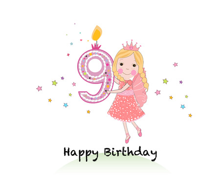 Happy ninth birthday candle. Girl greeting card with cute fairy tale vector background Illustration