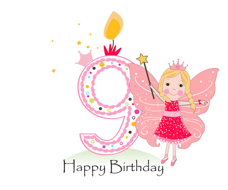 Happy ninth birthday candle. Baby girl greeting card with fairy tale vector background