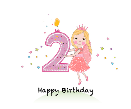 Happy second birthday candle. Girl greeting card with cute fairy tale vector background