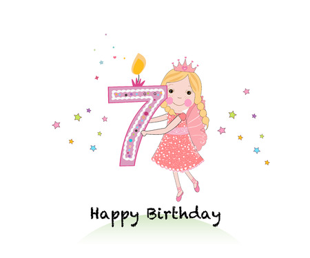 Happy seventh birthday candle. Girl greeting card with cute fairy tale vector background