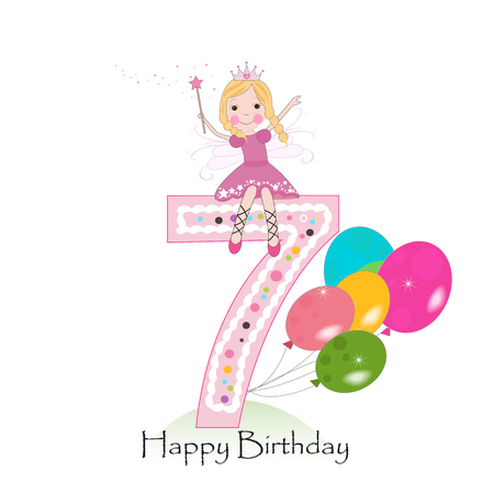 Happy seventh birthday greeting card with fairy tale