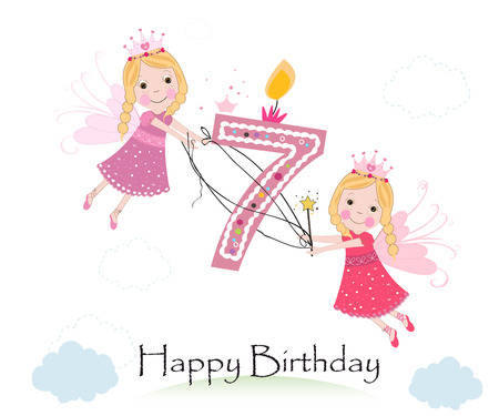 Happy seventh birthday greeting card with cute fairy tale vector