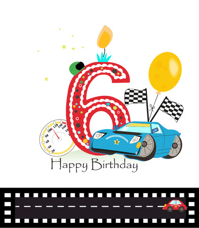 sixth birthday: Happy sixth birthday candle. Baby boy greeting card with race car vector illustration Illustration