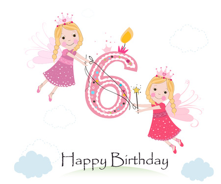 sixth birthday: Happy sixth birthday greeting card with cute fairy tale vector
