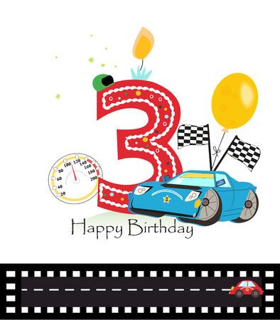third birthday: Third birthday greeting card. Car vector illustration background