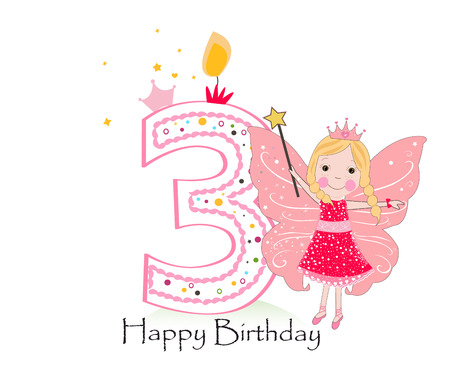 Happy third birthday candle. Baby girl greeting card with fairy tale vector background Illustration