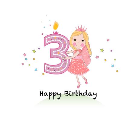 Feliz tercera vela de cumpleaños. Tarjeta de felicitación de niña con lindo fondo de vectores de cuento de hadas