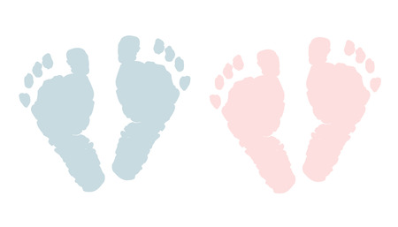 baby: Baby footprints twin baby girl and boy vector Illustration