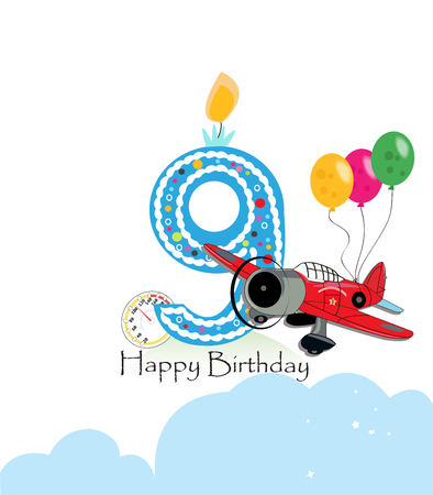 Ninth birthday greeting card. The plane and balloon happy birthday greeting card size Illustration