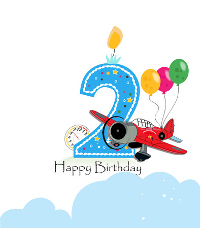 Second birthday greeting card. The plane and balloon happy birthday greeting card size