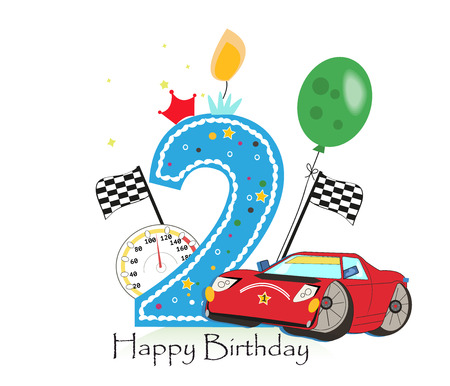 Second birthday greeting card. Car vector illustration background