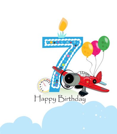 Seventh birthday greeting card. The plane and balloon happy birthday greeting card size Stock Vector - 71966835