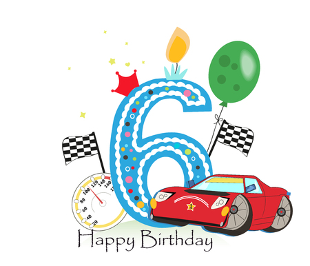 Sixth birthday greeting card. Car vector illustration background