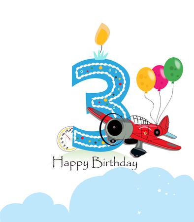 third birthday: Third birthday greeting card. The plane and balloon happy birthday greeting card size Illustration