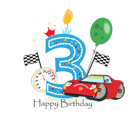 Third birthday greeting card. Car vector illustration background