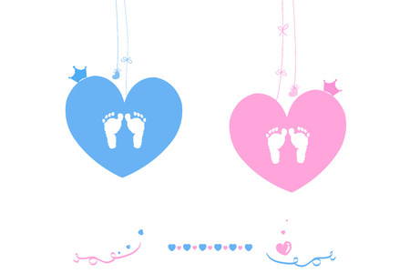 Twin baby boy and girl baby foot print vector heart with crown