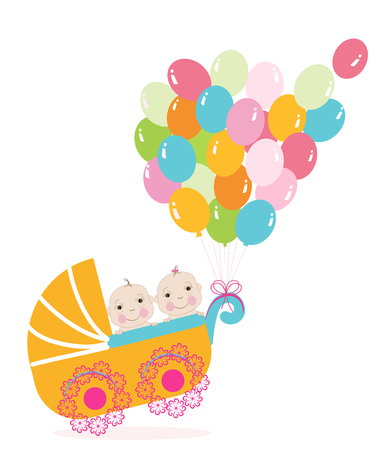 Baby girl stroller with balloon. Baby shower greeting card Illustration