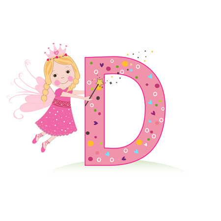 Letter D with a cute fairy tale Çizim