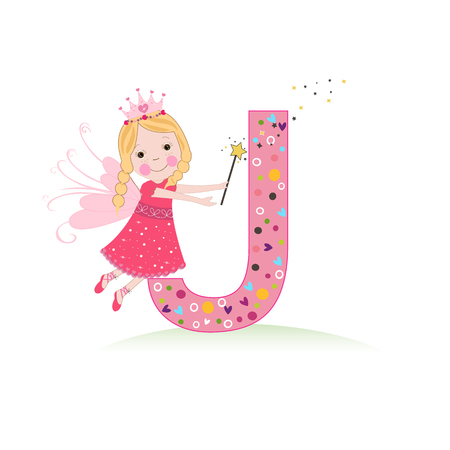 J letter with a cute fairy tale Illustration