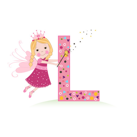 Letter L with a cute fairy tale Illustration