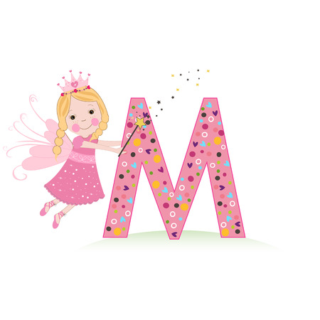 Letter M with a cute fairy tale