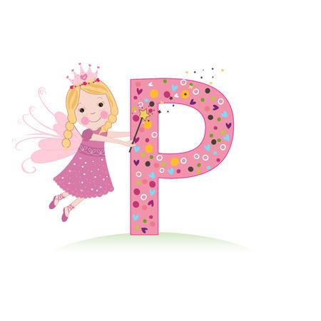 Lettre P avec un joli conte de fées Banque d'images - 71883912