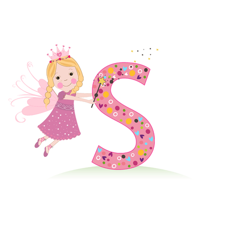 S letter with a cute fairy tale Illustration