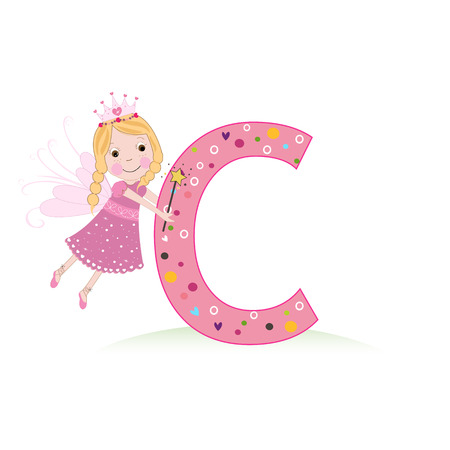 Letter C with a cute fairy tale