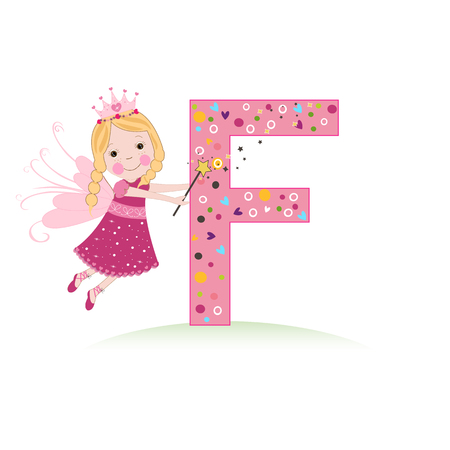 F letter with a cute fairy tale