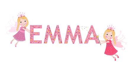 Emma female name with cute fairy tale