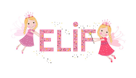 Elif female name with cute fairy tale Ilustrace