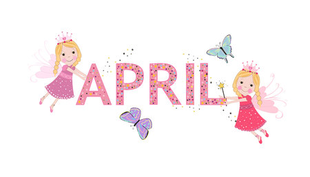 April text with cute fairy tale vector. Welcome April and spring time background Ilustração