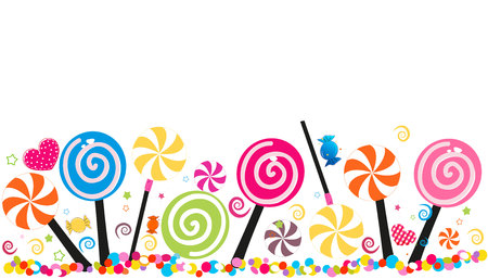 Colorful sweet candy banner. Traditional candies for Seker Bayram Holiday. Greeting card vector Vectores