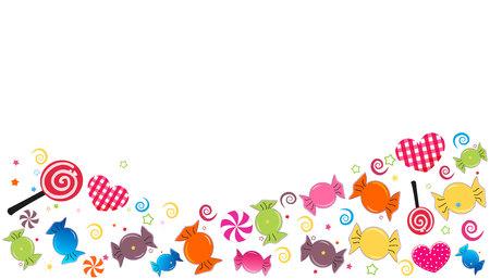 カラフルな甘いお菓子のバナーです。Seker バイラムの休日のための伝統的なお菓子。グリーティング カード ベクトル