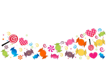 Colorful sweet candy banner. Traditional candies for Seker Bayram Holiday. Greeting card vector