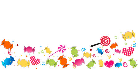 Colorful sweet candy banner. Traditional candies for Seker Bayram Holiday. Greeting card vector Ilustracja